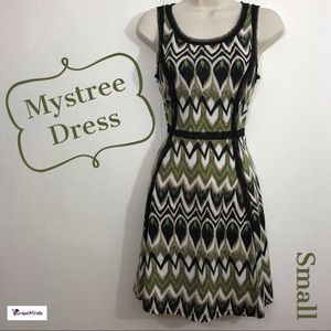 🦄🆕 Mystree Fitted Sleeveless Dress Black Green S